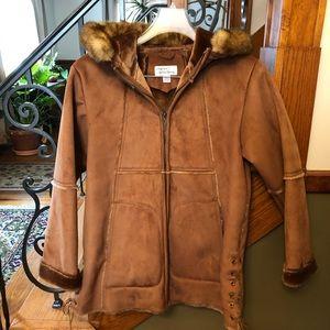 Oleg Cassini Arcticwear Sm. Faux Suede & Fur Coat